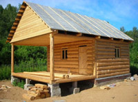 1,00р./объект.  Сруб дома-бани 6х3 пятистенок + выпуск 3м.  С двускатной крышей, покрытой рубероидом и...